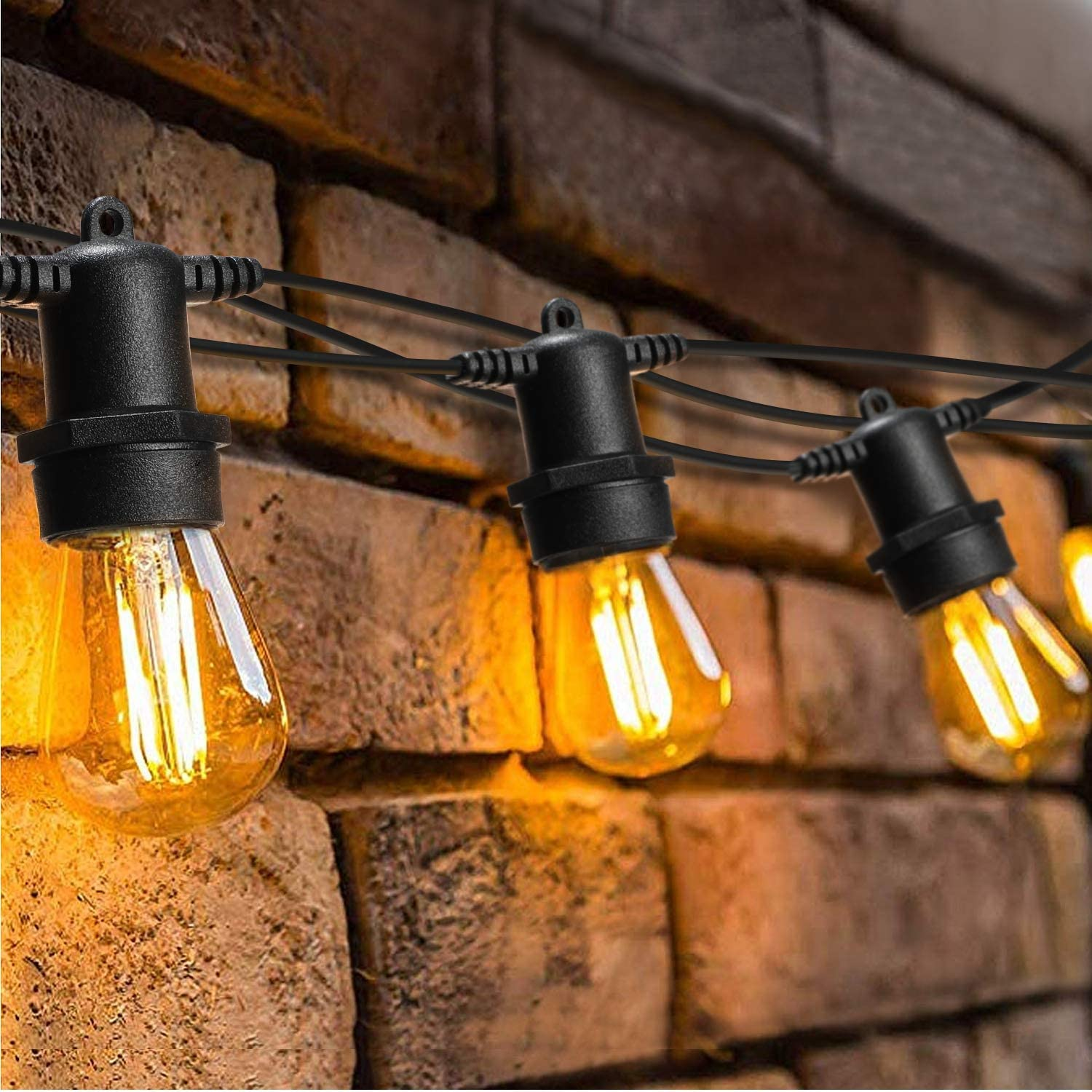 LED Outdoor String Lights with 40 Shatterproof Plastic Bulbs, OxyLED 128 Ft Hanging String Lights Waterproof, Bulb String Lights for Bedroom Patio Garden Yard Wedding Party Christmas, Warm White