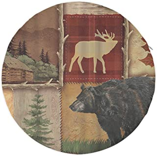 NiYoung Unique Memory Foam Round Bar Stools, Non-Slip Cushion Pad with Skin-Friendly Polyester Cover, Indoor/Outdoor Chair Sofa Seat Pads Butt Pad - 16 Inches - Rustic Lodge Bear Moose