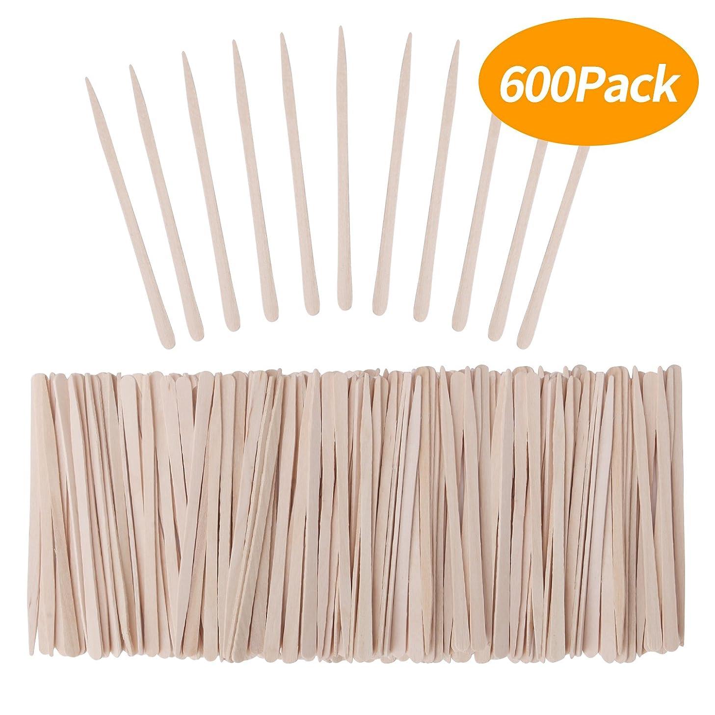 Senkary 600 Pieces Wooden Waxing Sticks Small Wax Sticks Wax Applicator Sticks Wood Wax Spatulas Sticks for Hair Eyebrow Nose Removal (Without Handle)