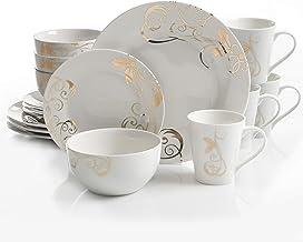 Gibson Seasonal Gold 16 PC Dinnerware Set, Serving, Porcelain