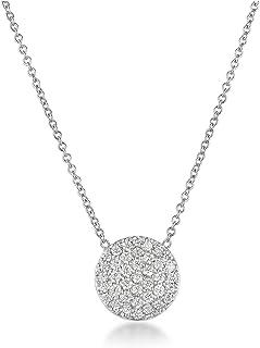 "Harcourt Jewels Women's 14K White Gold 16"" Long Micropave Diamond Disc Pendant (.38 Cttw, Vs Clarity), One Size"