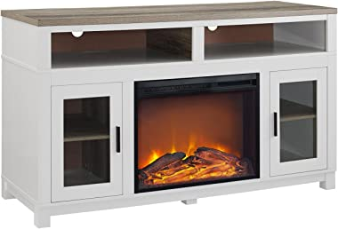 "Ameriwood Home Carver Electric Fireplace TV Stand for TVs up to 60"" Wide, White"