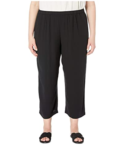 Eileen Fisher Plus Size Silk Georgette Crepe Straight Cropped Pants (Black) Women