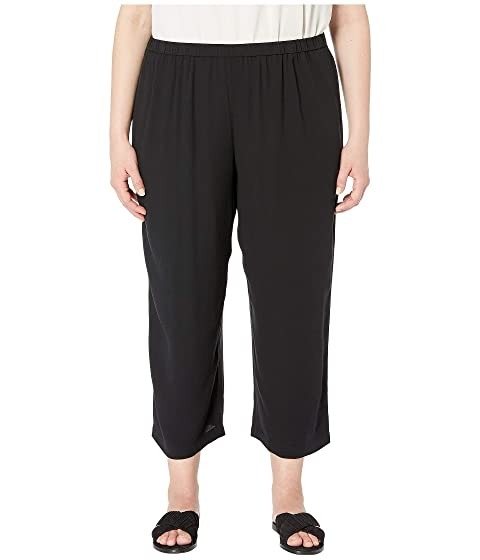 967d0069d94 Eileen Fisher Plus Size Silk Georgette Crepe Straight Cropped Pants ...