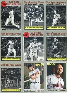 2019 Topps Heritage Baseball Boston Red Sox Team Set of 26 Cards: World Series Champion(#1), Jackie Bradley Jr.(#10), Brock Holt(#39), Mookie Betts(#78), Christian Vazquez(#104), Rafael Devers(#163), David Price(#191), Jackie Bradley(#199), Jackie Bradley(#200), Andrew Benintendi(#201), David Price(#202), Steven Wright(#215), Eduardo Rodriguez(#237), Dustin Pedroia(#251), Steve Pearce(#265), Rick Porcello(#279), Eduardo Nunez(#305), plus more