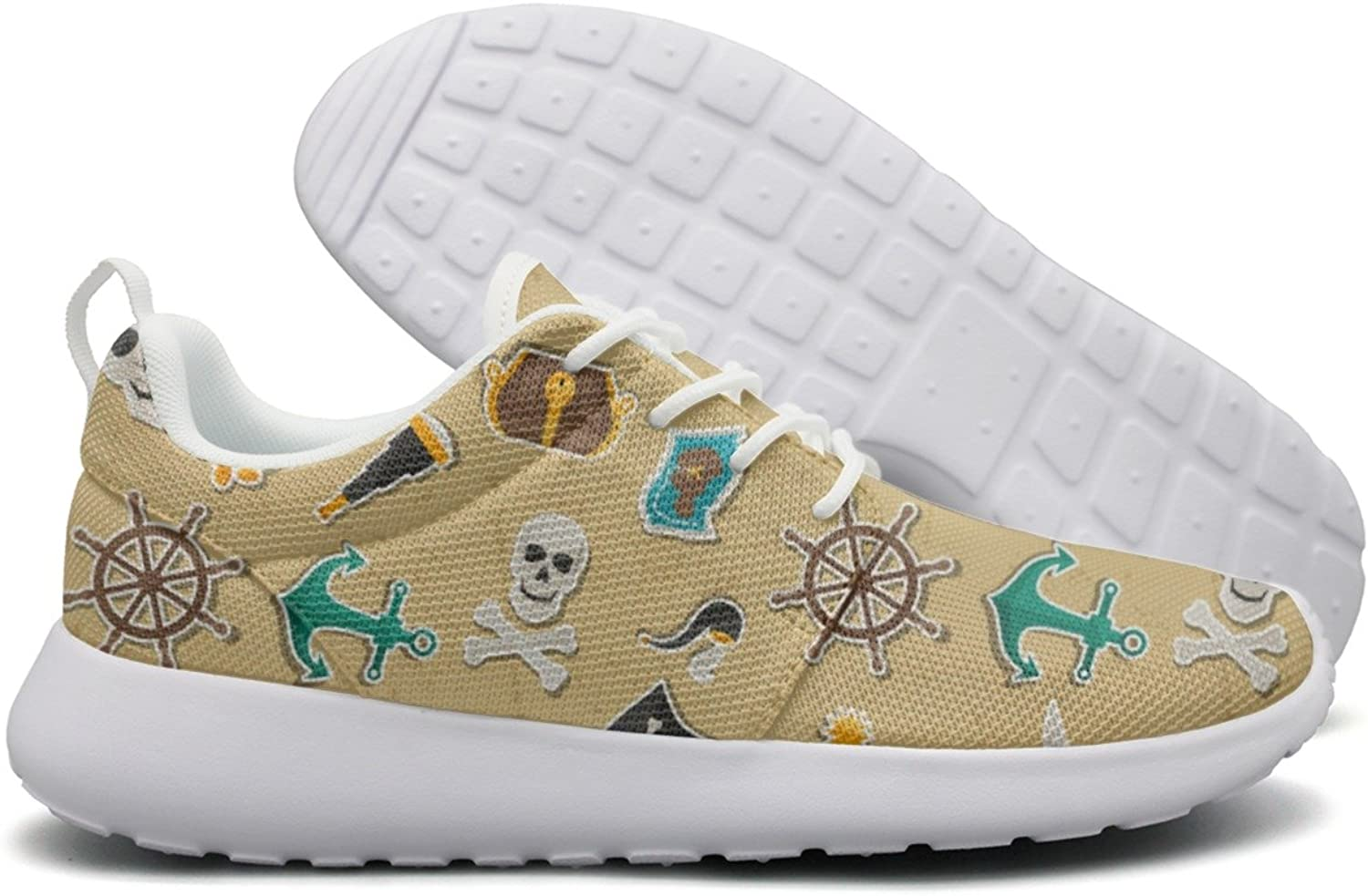 Hoohle Sports Pirate Theme Stickers Skull Yellow Womens Roshe One Flex Mesh Casual shoes Men