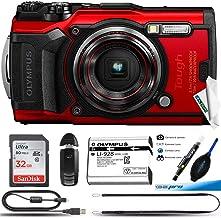 Olympus Tough TG-6 Waterproof Camera, Red -32GB Basic Bundle