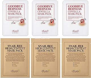 Snail Mask : 3 Benton Snail Bee High Content Sheet Mask & 3 Benton Goodbye Redness Centella Sheet Masks Pack (Total 6 Sheet Masks Custom Labeled Pack)