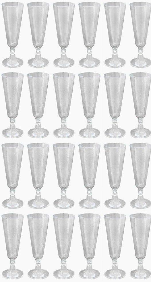 ヘビ本質的に余分なプラスチック製 使い捨て シャンパングラス (クリア24個)
