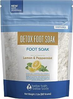 Sponsored Ad - Detox Foot Soak 32 Ounces Epsom Salt with Natural Lemon, Peppermint, Lavender and Frankincense Essential Oi...