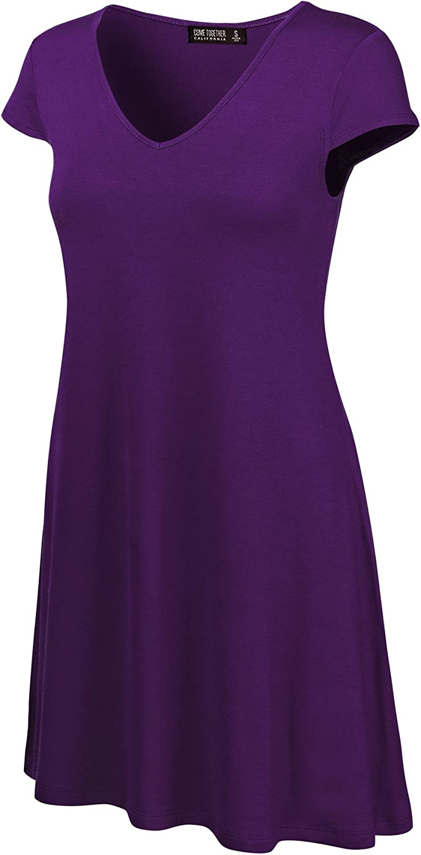 Come Together California CTC WDR1068 Womens V Neck Cap Sleeve T Shirt Dress S Dark_Purple