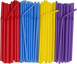 """[500 Pack] Flexible Disposable Plastic Drinking Straws - 7.75"""" High - Assorted Colors"""