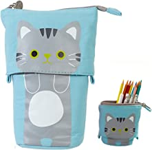 iSuperb Transformer Stand Store Pencil Holder Canvas+PU Cartoon Cute Cat Telescopic Pencil Pouch Bag Stationery Pen Case Box with Zipper Closure 7.5 x 4.9 x 3.0inch/4.1x 3.0inch (Blue)