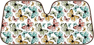 Monarch Butterfly Front Windshield Shade-Accordion Folding Auto Sunshade for Car Truck SUV-Blocks UV Rays Sun Visor Protector-Keeps Your Vehicle Cool-58 x 28 Inch