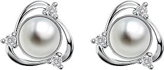 White Freshwater Cultured Pearl Earrings Sterling Silver Pearl Jewelry Women Earring Studs for Sensitive Ears