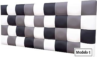 ONEK-DECCO Cabecero de Cama tapizado en Polipiel de Dormitorio Mod. Kansas Patchwork,Acolchado de Espuma Varias Medidas, Cama de niño, Juvenil y Matrimonio (90X70, Modelo 2)
