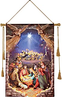 Collections Etc Lighted Nativity Scene Hanging Canvas
