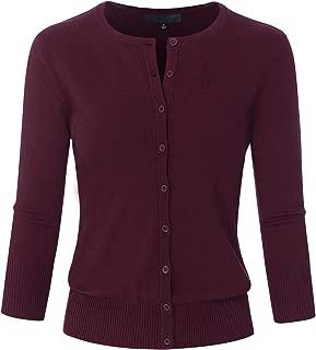 Women's 3/4 Sleeve Crew Neck Button Down Stretch Knit Cardigan Sweater (S-3XL)