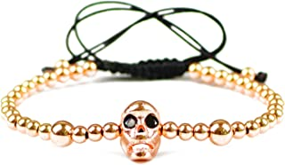 HuoGuo Men Skull Charms Bracelet 4mm Copper Beads Pave CZ Lucky Weave Rope Women Bangle Jewelry Pulseira Masculina Gift