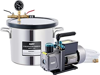 Orion Motor Tech 3.5cfm Vacuum Pump and Chamber Kit, 7.6L Vacuum Chamber and 38 Micron Vacuum Pump Epoxy Resin Kit, 2 Gall...