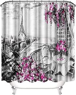 VividHome Romantic Shower Curtains Paris European City Landscape France Eiffel Tower Black White and Violet Modern Art Flowers Waterproof Shower Curtain 72x72 Inch