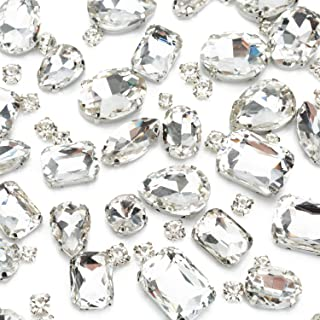 130PCS White Clear Sew on Glass Rhinestone with Hole Silver Prong Setting Flatback Claw Mix Shape - 30 PCS Large Sew on Diamond and 100 PCS Small Tiny Sew Gems - for Dress, Cloth, Shoes, Swimsuit