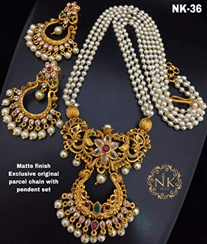 Latest Lakshmi Pendent Pearl Jewellery Set For Women And Girls With Beautiful Pendent And Matching Jumki Earrings
