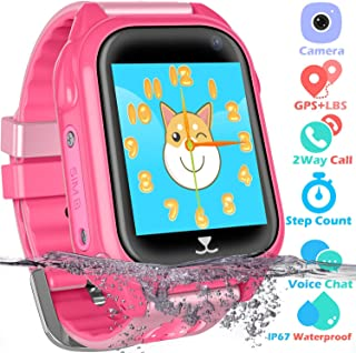PTHTECHUS Kids Waterproof GPS Smart Watch for Boys Girls,Students Touch Screen Smartwatch with GPS Tracker Voice Chat One Key SOS for Help Clock Camera,Suitable for Childrens Aged 4-12, Pink