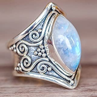 Fasclot Ring for Women 1PC Boho Jewelry Silver Natural Gemstone Marquise Moonstone Personalized Ring for Womens Gifts