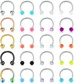 Mayhoop 16G Surgical Steel Horseshoe Nose Septum Rings Piercing Jewelry Cartilage Helix Tragus Earring Hoop Lip Horseshoe Piercing Retainer for Women Men 8mm 10mm