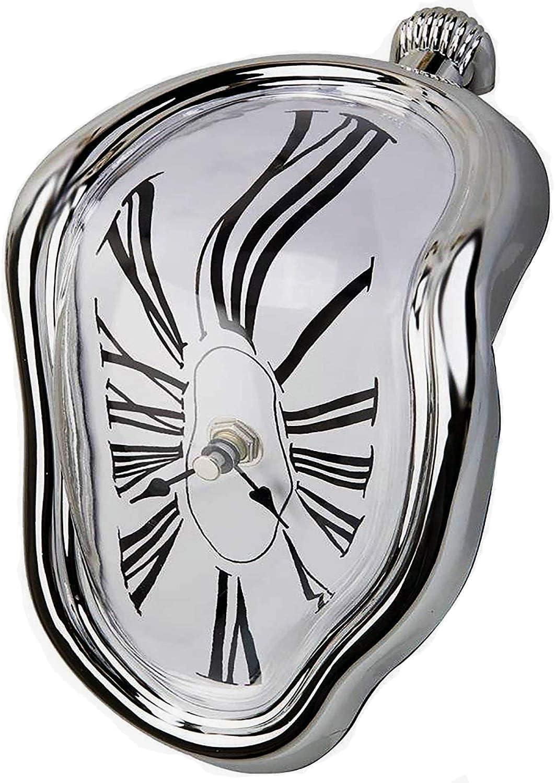 FAREVER Salvador Dali Reloj derretido Reloj de Salvador Dali Reloj decorativo para el hogar Oficina Estantería, Escritorio, Mesa Divertida Regalo Creativo (Plata)