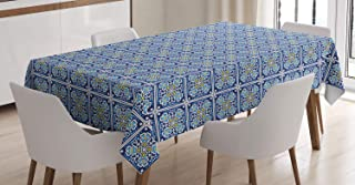 Lunarable Spanish Tablecloth, Square Frames of Talavera Prints Bold Cultural Motifs, Rectangular Table Cover for Dining Room Kitchen Decor, 60