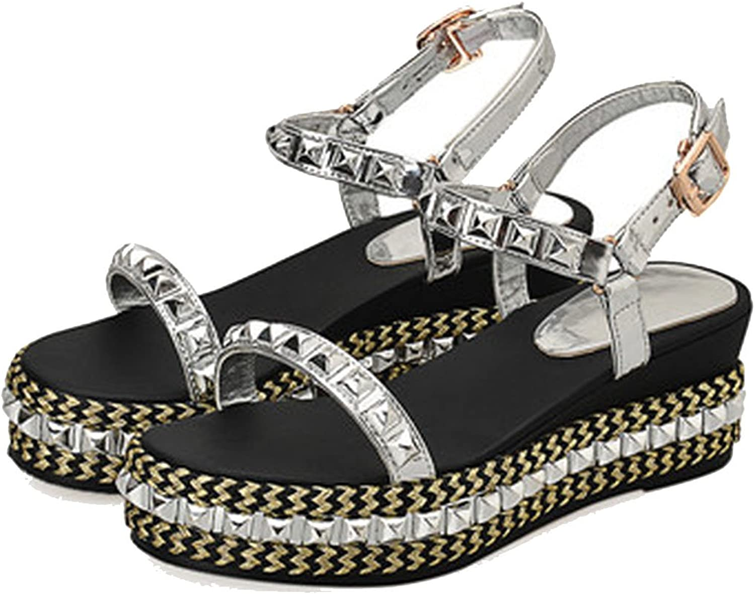 Patent Leather Rivet Sandals Flat Platform with Shining Straw shoes Buckle Strap Casual shoes