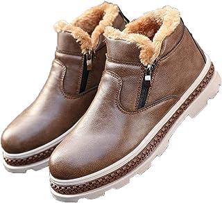 LangfengEU Hommes Hiver Bottes de Neige Chaudes Chaussures de Travail en Cuir décontractées avec Fermeture à glissière Mod...