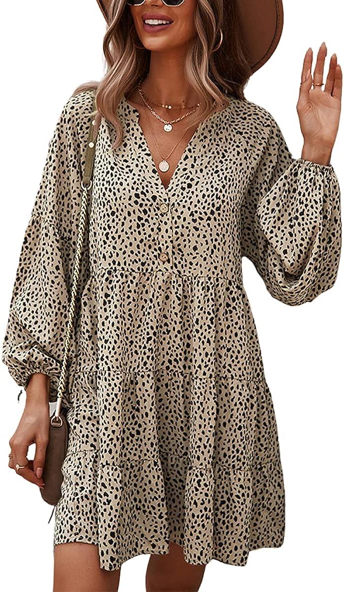 MOPOOGOSS Womens Fall Winter Philadelphia Mall Sexy V Leopar Long Sleeve Neck Puff Brand Cheap Sale Venue