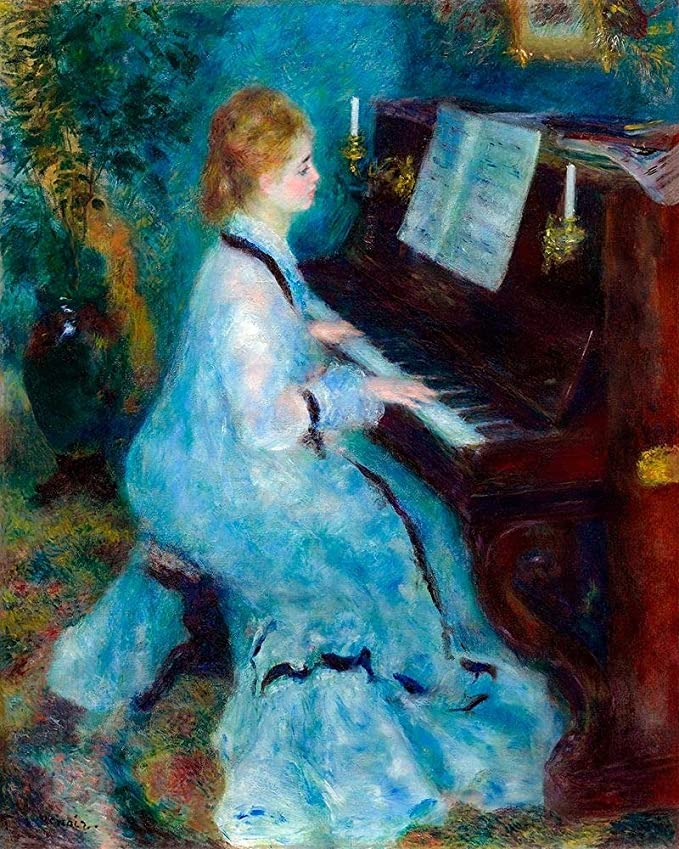 Posterazzi PDX57272LARGE Woman at The Piano 1876 Pierre-Auguste Renoir Poster Print, 24 x 36, Multicolor