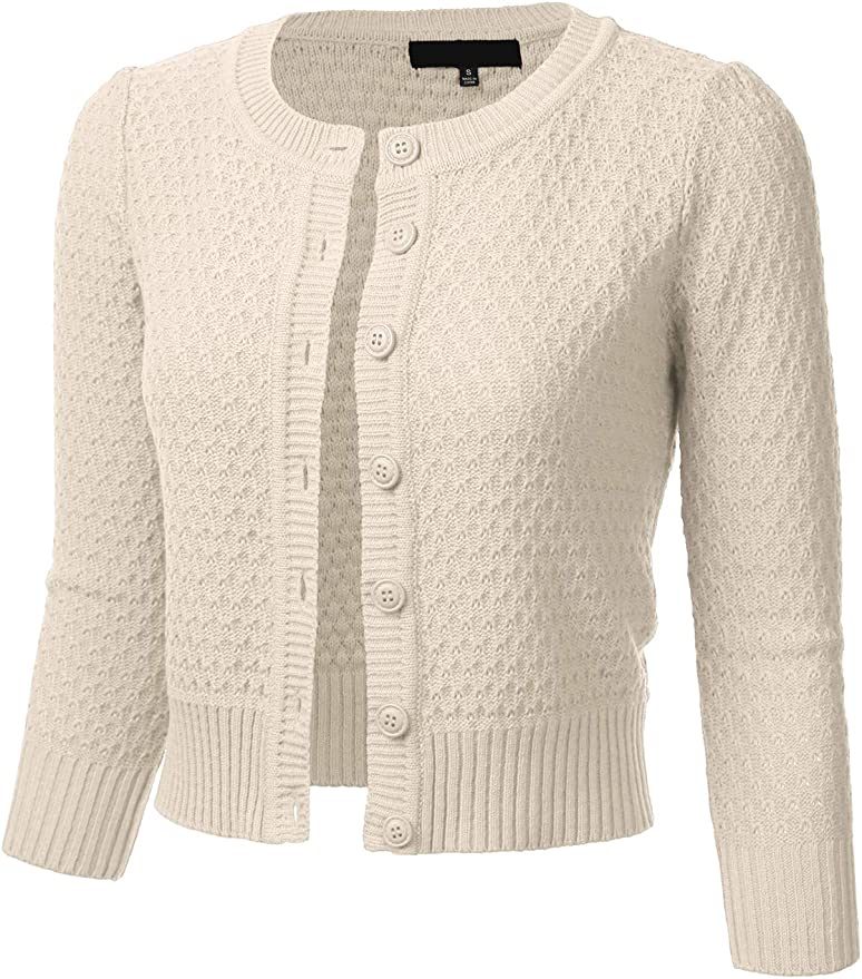 1940s Teenage Fashion: Girls FLORIA Womens Button Down 3/4 Sleeve Crew Neck Cotton Knit Cropped Cardigan Sweater (S-3X) $24.99 AT vintagedancer.com