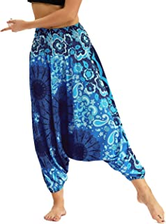 201de645d863c5 Nuofengkudu Pantaloni Palazzo Harem Cavallo Basso Estivi Baggy Thai Aladin  Stile Boho Vintage Stampa Vita Alta