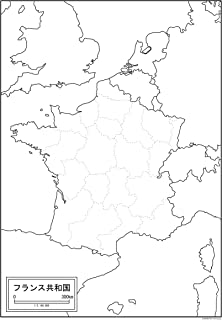 フランスの白地図 A1サイズ 2枚セット