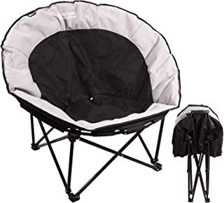 REDCAMP Oversized Moon Chairs for Adults, Comfy Portable Folding Saucer Chair for Bedroom Living Room Dorm, Black and Gray Large