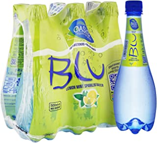 Oasis Blu Sparkling Lemon & Mint Water, 6 x 500 ml