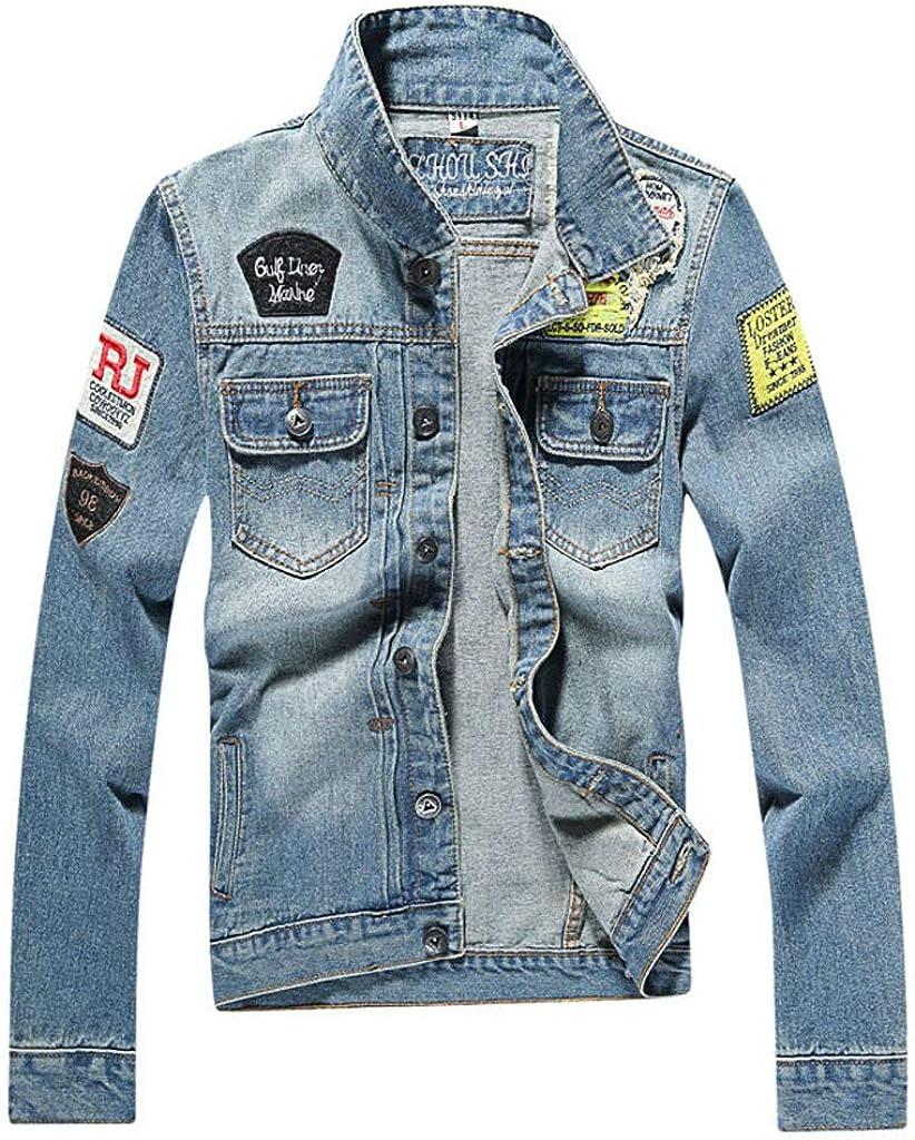 Mens Denim Jacket Casual Slim Fit Button Down Trucker Jacket Jean Coat Classic Lightweigth Jean Jacket Coat for Mens
