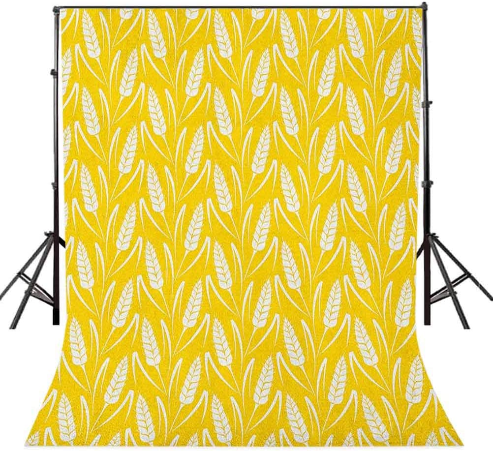 8x12 FT Grey and Yellow Vinyl Photography Backdrop,Vintage Modern Design Birds with Dots and Hearts Print Background for Photo Backdrop Baby Newborn Photo Studio Props