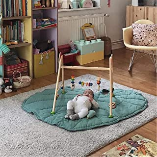 Green Gary Leaf Type Baby Play Mat Cotton Soft Baby Sleeping Mats Floor Carpet Baby Gym Activity Room Decor Crawling Blanket Pad (Green)