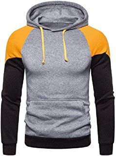 Howely Men's Hood Drawstring Color Conjoin Casual Pullover Sweatshirts