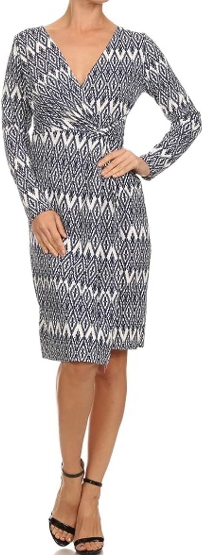 Avital Faux Wrap White Navy bluee Print Day Dress