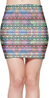 Women's Short Slim Fit Skirt Sexy Skirt Neon Pink Purple Bright Andes Abstract Aztec Mini Bodycon Skirt