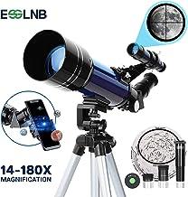ESSLNB Telescopio 70mm Telescopios Astronomicos con Ajustable Trípode Adaptador de Teléfono 3X Barlow Lente y Filtro de Luna