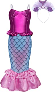 HenzWorld Girls Dresses Little Mermaid Costumes Ariel Princess Halloween Birthday Party Cosplay Outfit Headband Accessories