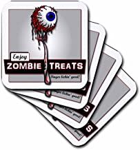 3dRose CST_25573_2 Zombies Zombie Treats 1 on Transparent-Soft Coasters, Set of 8
